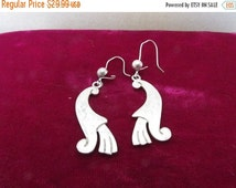 Colors of Fall Sale Vintage Sterling Silver Hook Earrings, Marked Mexico CR-20, Stylized Animal, Collectible Jewelry