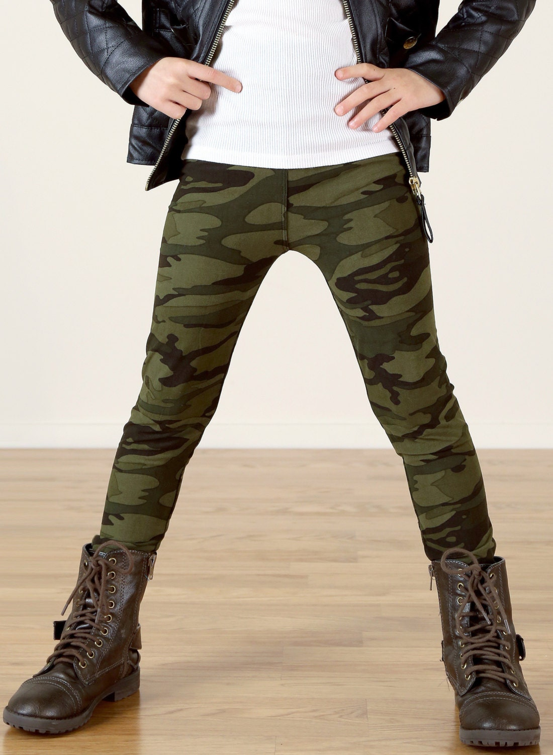 Girls/Kids Army Camo Printed Leggings for Riot Grrrls Punk and Goth Kids