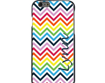 Hard Snap-On Case for Apple 5 5S SE 6 6S 7 Plus - CUSTOM Monogram - Any Colors - Rainbow Chevron Blue Name