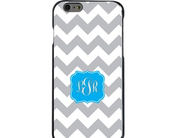 Hard Snap-On Case for Apple 5 5S SE 6 6S 7 Plus - CUSTOM Monogram - Any Colors - Grey White Chevron Blue Frame