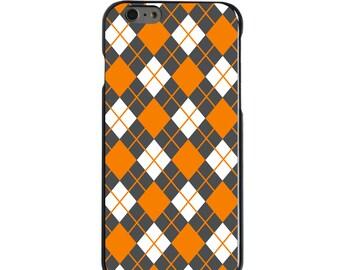 Hard Snap-On Case for Apple 5 5S SE 6 6S 7 Plus - CUSTOM Monogram - Any Colors - Tennessee UT Volunteers Vols Colors - Argyle Pattern