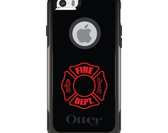 OtterBox Commuter for Apple iPhone 5S SE 5C 6 6S 7 8 PLUS X 10 - Custom Monogram - Any Colors - Red Fire Department