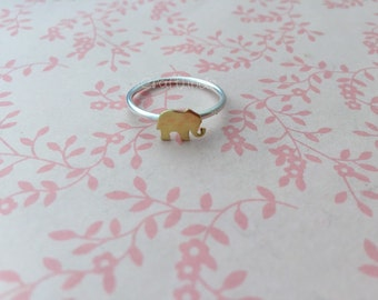 stacked sterling silver ring, elephant, hand made, custom, made to order, made to fit