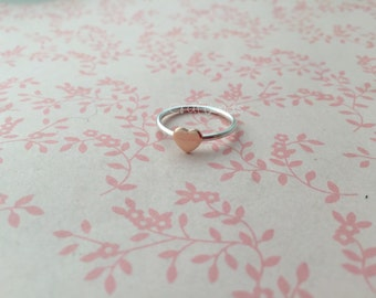 stacked sterling silver ring, with copper heart, hand made, custom, made to order, made to fit