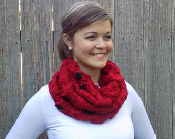Red Cozy Cable Cowl - Neck Warmer - Scarf