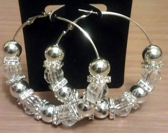 Basketball wives inspired silver bling hoop