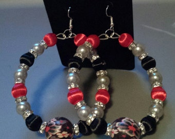 Basketball wives inspired red black and silver wire earring