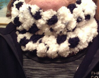 "Hand Knit Cowl, approx 18"" around, made from ""Pomp a Doodle"" yarn - FREE SHIPPING"