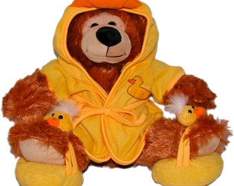 "14"" Tub Teddy Bear, Bob the Bear Plush Toy, Ducky Robe and Slippers, Bright Yellow Outfit"