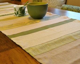 SALE! Green and Neutral Table Runner, Linen, Cotton, Silk