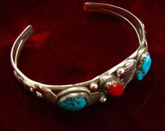 Fantastic Vintage NAVAJO Native American Indian Signed Sterling Silver, Coral and Turquoise Bracelet