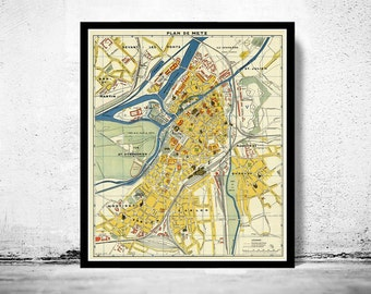 Old Map of Metz France 1936
