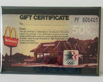 "McDonald's 50 cent Gift Certrifacate 2"" x 3"" Fridge Magnet Art Vintage"