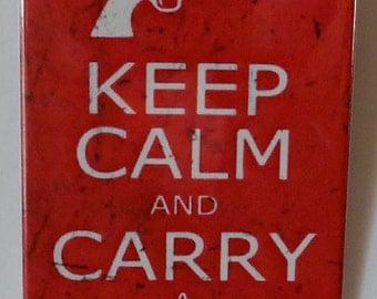 "Keep Calm and Carry a Gun  2"" x 3"" Fridge Magnet Art vintage"