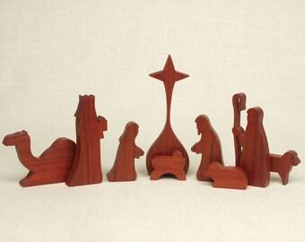 Nativity Set (Padouk) (#12) Nativity Scene, Manger Scene, Creche, Baby Jesus, Nativity Silhouette