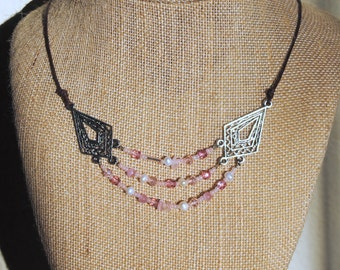 Three Row Pink and Pearl Necklace