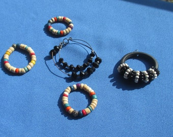 Lot Of Retro Salvaged Beaded Hoops