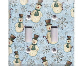 Country Snowmen Double Light Switch Cover