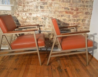 Pair of Steelcase Mid Century Industrial Arm Chairs