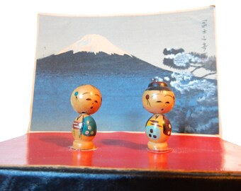 Vintage Japanese Kokeshi Dolls Diorama