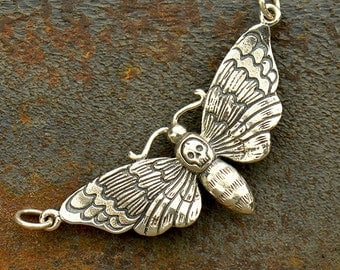 Sterling Silver Deaths Head Moth Charm - Halloween Charm-Holiday-Nature-Garden-Insect