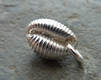 Cowrie shell (medium) pendant in sterling silver...