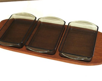 50s Teak Tray Condiment Set with 3 rectangle Glass Bowls, Mid Century Modern Germany
