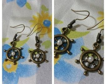 Dangle Ship Wheel Earrings