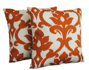 One Richloom Solarium Basalto Tangerine Indoor/Outdoor pillow cover, cushion, decorative throw pillow, decorative pillow, accent pillow