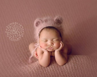 Newborn Photo Prop//Knitted Mauve Angora Bonnet//Newborn Props//Newborn Girl Hat//Newborn Bear Hat//Angora Hat//Baby Gift//Baby Bonnet//Pink