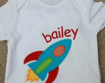 Baby Boy Bodysuit or Shirt - Baby Boy Outfit - Baby Clothes - Personalized Baby Bodysuit - Monogrammed Baby Clothes - Rocket
