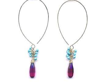 E0499 Faceted Pink Drop with Arizona Turquoise on Gold Filled Earrings