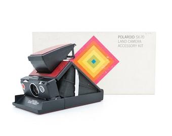 Polaroid SX-70 ALPHA 1 MODEL 2 Camera and Polaroid SX70 Land Camera Accessory Kit - Tested - Guaranteed Working uses Impossible SX70 film