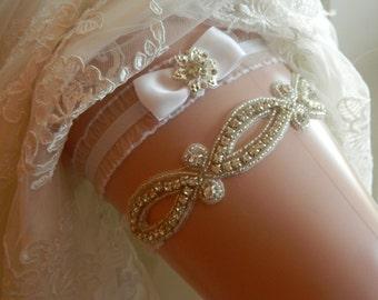 Wedding Garter,White Garter Rhinestone Garter,Garter Belt, Garder set