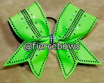 Simply Perfect Rhinestone Bow in Lime and Black