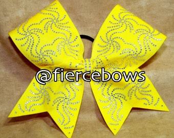 Fireworks Rhinestones on Yellow Cheer Bow