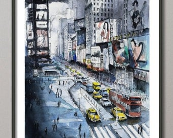 New York painting - Time square painting - New York Watercolor - Giclee Fine Art Poster Print
