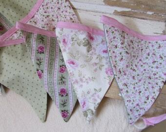 Pink Floral Rose Fabric Bunting Garland Swag
