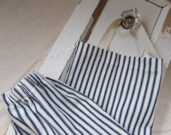 Blue & White Ticking Kitchen Hanging Grocery Bag Holder