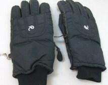 Vintage Pair of Roffe Mens Medium Winter Black Nylon Leather Ski Gloves