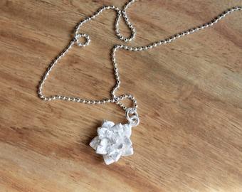 Thai silver lotus flower necklace