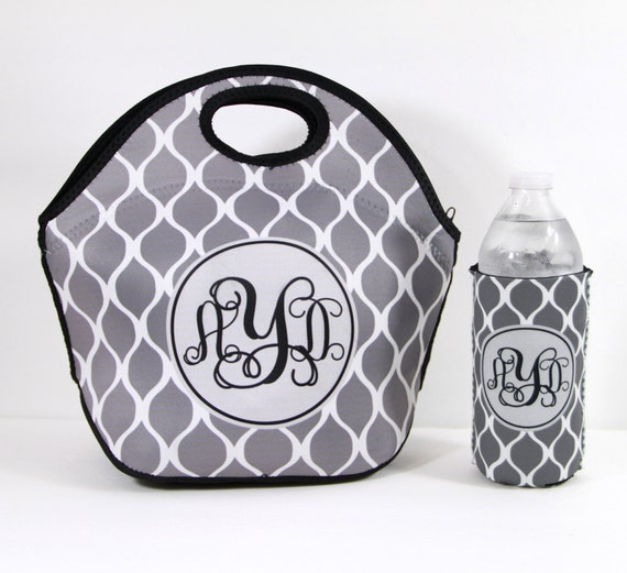 Insulated Lunch Bag And Water Bottle Insulator Monogrammed Lunch Box Lunch Tote & Water Bottle Sleeve Personalized Custom Monogram Lunch Bag