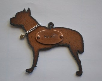 PIT BULL with Chain Collar and Heart made of Rustic Rusty Rusted Recycled Metal Custom PERSONALIZED PitBull/Bull Terrier Ornament or Magnet