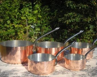 Copper Pans Les Cuivres de Faucogney Set of Five Vintage French Copper Professional Graduated Pans, Cast Iron Handles, Normandy Kitchen Pots