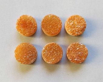No Polished Natural Quartz Orange Color Titanium Round Druzy Cabochon 8mm