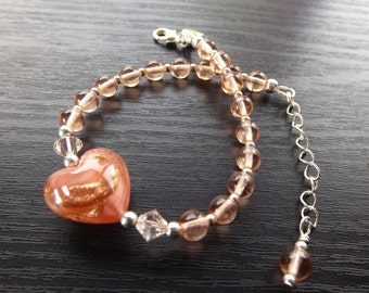 Peach Czech Glass Bracelet