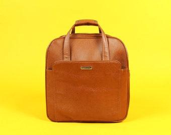 Brown Leather Samsonite Tote Handbag Purse Carry On Luggage Suitcase