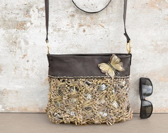 Brown leather purse, leather messenger bag, butterfly purse, beige leather crossbody