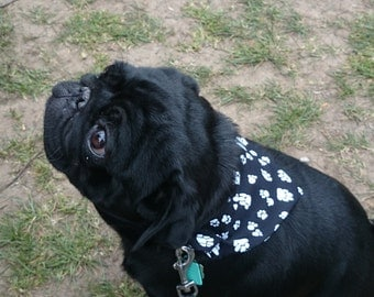 Dog / Pet Reversible  Paw Print Bandanas, Black with white paws