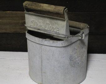 Vintage DeLuxe Galvanized Mop Bucket